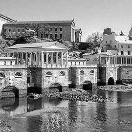 Bill Cannon - Black and White Philadelphia Waterworks and Art Museum Panorama