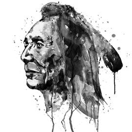 Black and White Sioux Warrior Watercolor by Marian Voicu