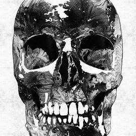 Sharon Cummings - Black And White Skull by Sharon Cummings