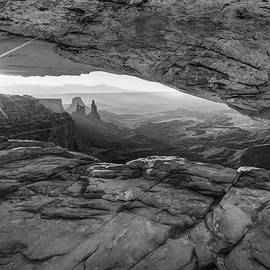 Gregory Ballos - Black and White Sunburst Mesa Arch Mountain Landscape