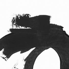 Black Brushstroke 4- Art by Linda Woods - Linda Woods