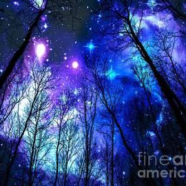 Black Trees Purple Blue Space by Johari Smith
