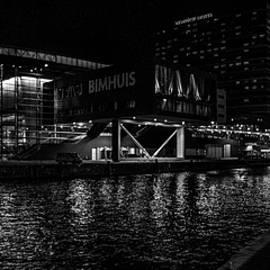 Yevhenii Volchenkov - Black white night panoramic view on Bimhuis Jazz Hall in Amsterdam