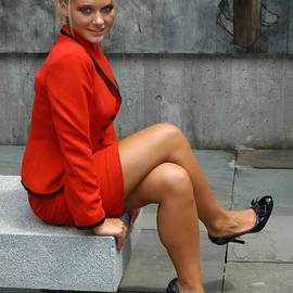 Blonde in Red Suit by Mike Martin