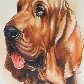 Bloodhound in Watercolor by Barbara Keith