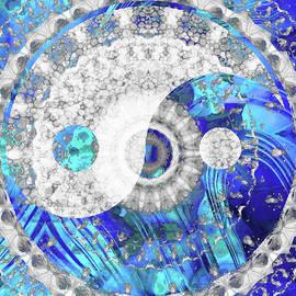 Blue And White Art - Yin and Yang Symbol - Sharon Cummings by Sharon Cummings