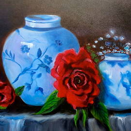 Jenny Lee - Blue and White Pottery and Red Roses