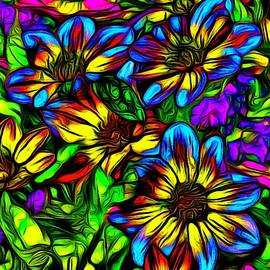 Jean-Marc Lacombe - Blue and Yellow Wildflowers