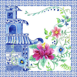 Blue Asian Influence 10 Chinoiserie Floral Pagoda w Chinese Chippendale Border - Audrey Jeanne Roberts