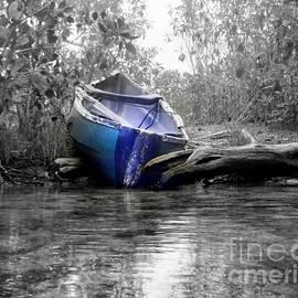 Blue Boat on Jungle River   Riviera Maya by Charlene Cox