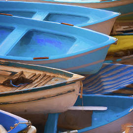 Joan Carroll - Blue Boats of Cinque Terre Italy