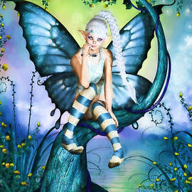 Blue Butterfly Fairy in a Tree by Alicia Hollinger
