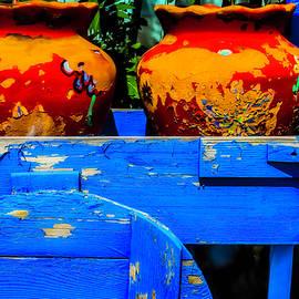 Blue Cart And Pots - Garry Gay