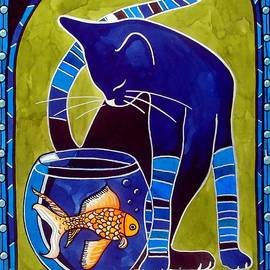 Blue Cat with Goldfish by Dora Hathazi Mendes