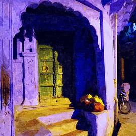 Blue City House Street Corner Rajasthan India 1a by Sue Jacobi