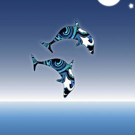 Blue dolphins jumping for joy by Barefoot Bodeez Art