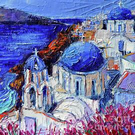 Mona Edulesco - BLUE DOMED CHURCHES IN OIA SANTORINI - Mini Cityscape #08 - palette knife oil painting