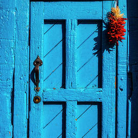 Blue Door With Red  Chilis - Garry Gay