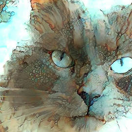 Blue Eyed Persian Cat Watercolor by Peggy Collins