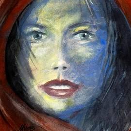 David K Myers - Blue Face, Watercolor