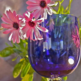 Blue Goblet with Daisies by Bonnie See