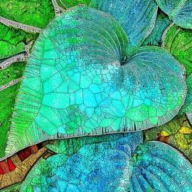 Blue Green Hosta Stained Glass  by Mo Barton