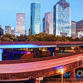 Blue Hour Panorama of Downtown Houston Skyline - Harris County Texas by Silvio Ligutti