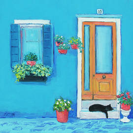 Blue House in Burano Venice by Jan Matson