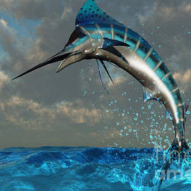 Blue Marlin Splash by Corey Ford