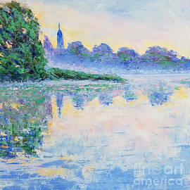 Blue mist over the river by Olga Malamud-Pavlovich