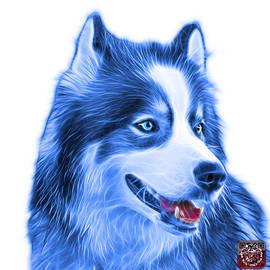 Blue Modern Siberian Husky Dog Art - 6024 - Wb by James Ahn