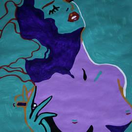 Blue Nude Female Smoking  by Stormm Bradshaw