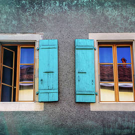 Blue Shuttered Windows in Carouge Geneva  - Carol Japp