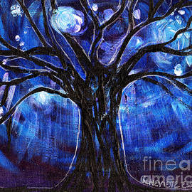 Blue Tree At Night by Genevieve Esson