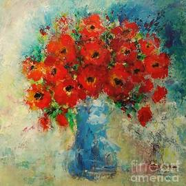 Blue vase with flowers by Elena Ivanova