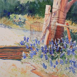 Marsha Reeves - Bluebonnets at the Cattle Guard