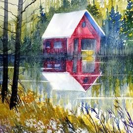 David K Myers - Boat House Watercolor