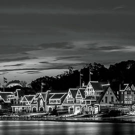 Boathouse Row Philadelphia Pa Night Black And White by Terry DeLuco