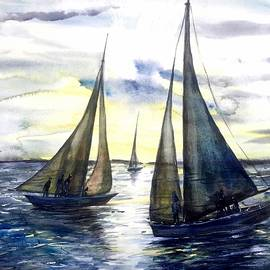 Katerina Kovatcheva - Boats at the sunset