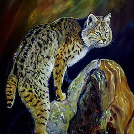 Manuel Lopez - Bobcat At Sunset Original Oil Painting 16x20x1 Inch On Gallery Canvas