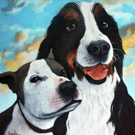Bodhi and Lily  pet portrait by Linda Apple
