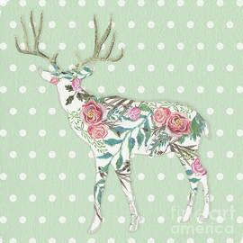 Audrey Jeanne Roberts - BOHO Deer Silhouette Rose Floral Polka Dot Sage Green