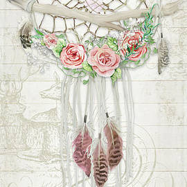 Boho Western Dream Catcher W Wood Macrame Feathers And Roses Dream Beautiful Dreams by Audrey Jeanne Roberts