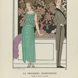 eorge Barbier - Bon Ton Gazette, 1921 - No. 2, Pl. 15 The First Imprudence  Evening Dress, Beer, George Barbier, 192
