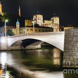 George Oze - Bonaparte Bridge At Night in Lyon