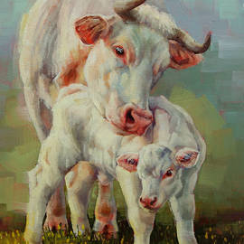 Margaret Stockdale - Bonded Cow And Calf