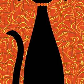 Boomerang Cat In Orange by Donna Mibus