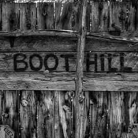 Thomas Woolworth - Boot Hill Signage Western Movie Set Little Hollywood Museum Knab Utah BW