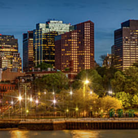 BOSTON Evening Skyline of North End and Financial District - Panoramic - Melanie Viola