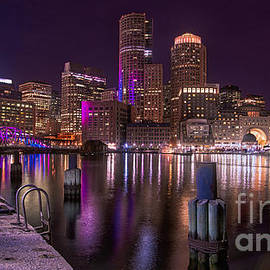 Boston Skyline at Night by Jerry Fornarotto